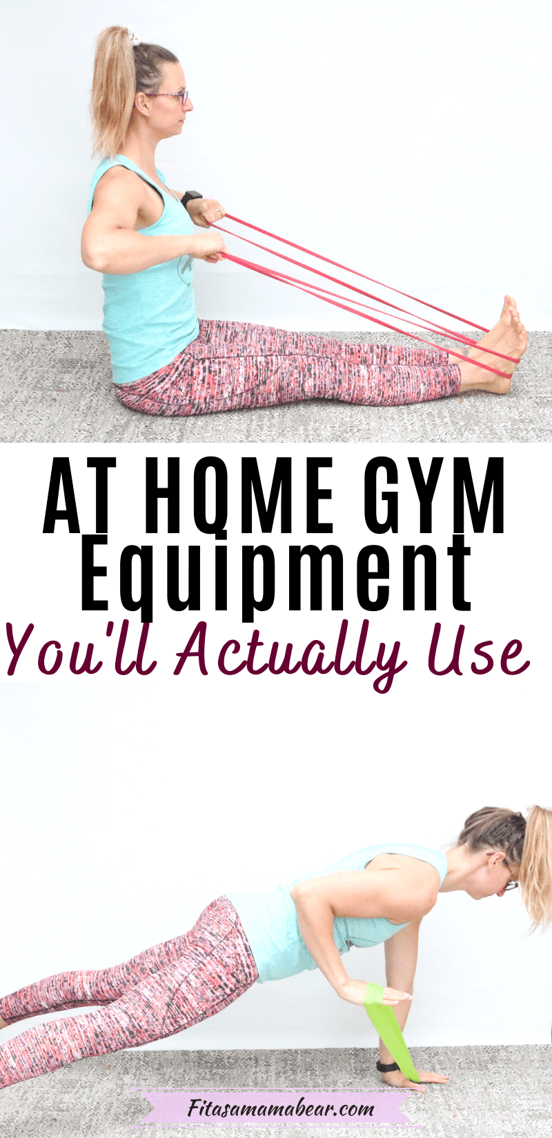 Pinterest image with text: two images of a female in blue shirt and bright pants performing at home gym exercises