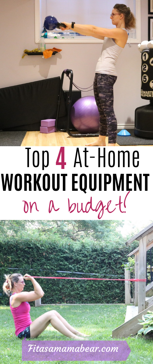 Pinterest image with text about at-home workout equipment: two images of a female working out at home with a kettlebell and resistance band