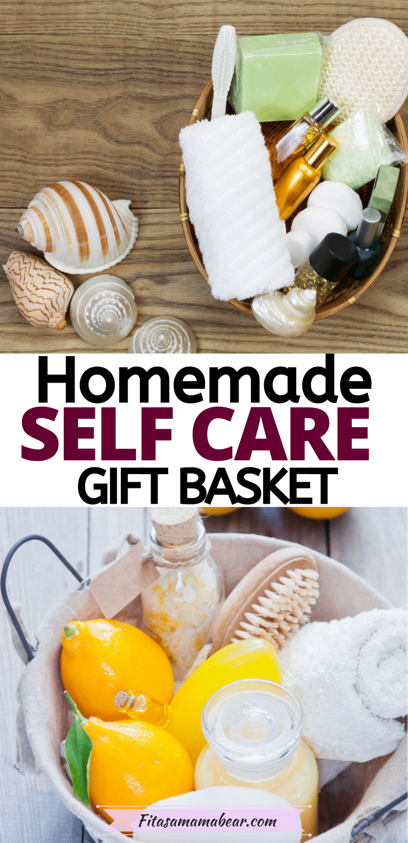 Pinterest image with text: two images of spa gift baskets