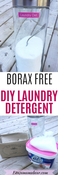 Pinterest image with text: jar of diy laundry detergent with spoon in it