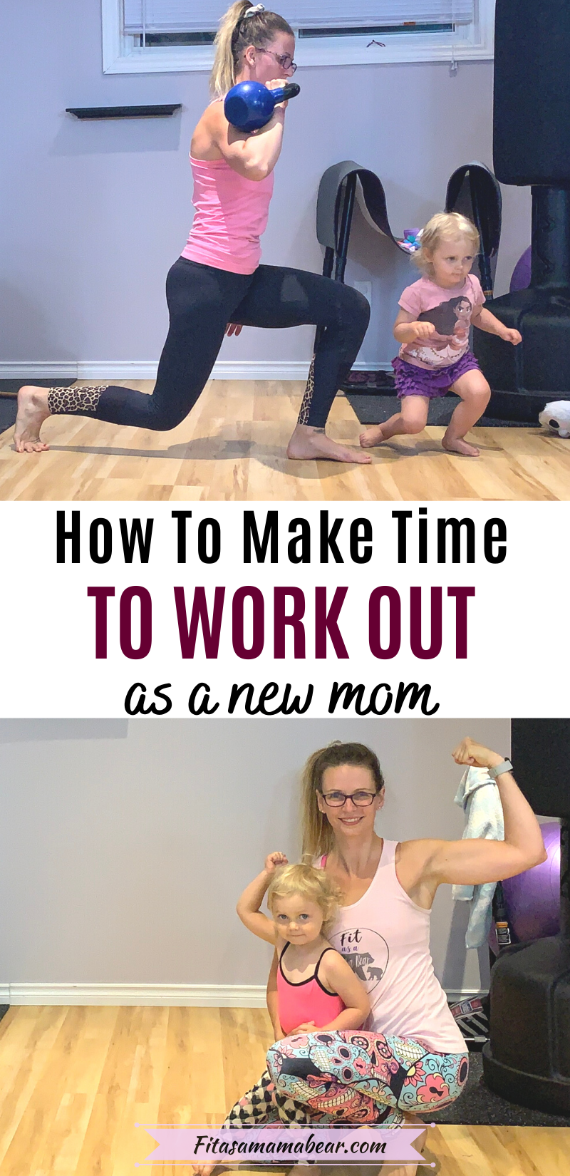Pinterest image with text: two images of a mom working out with a toddler in the gym with text in the middle about fitness tips for new moms