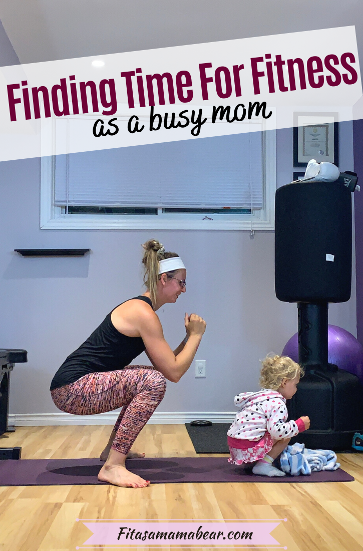 Featured image with text: a mom in a black shirt and bright pants with a toddler in the gym both squatting with text about fitness tips for busy moms