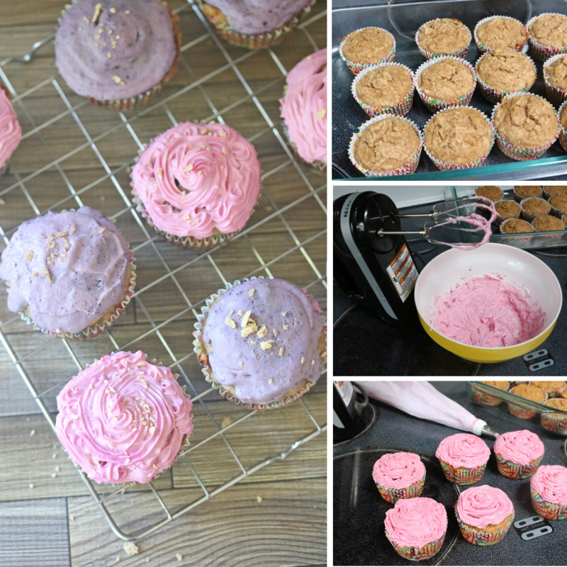 Collage image of sugar-free pink and purple cupcakes on a cooling rack with three other images on making the cupcakes and frosting