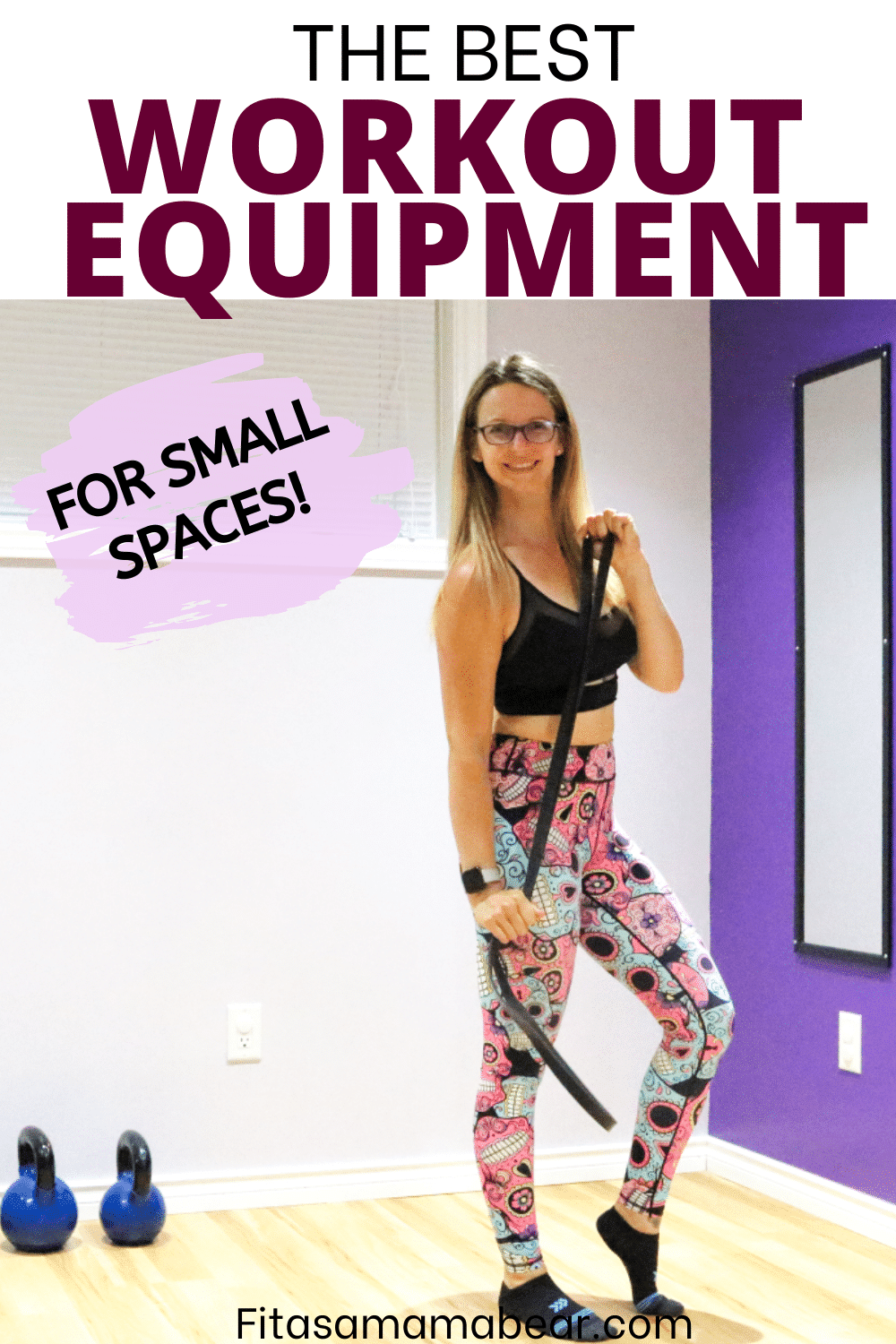 Pinterest image with text: woman in black sports bra and bright pants holding a resistance band