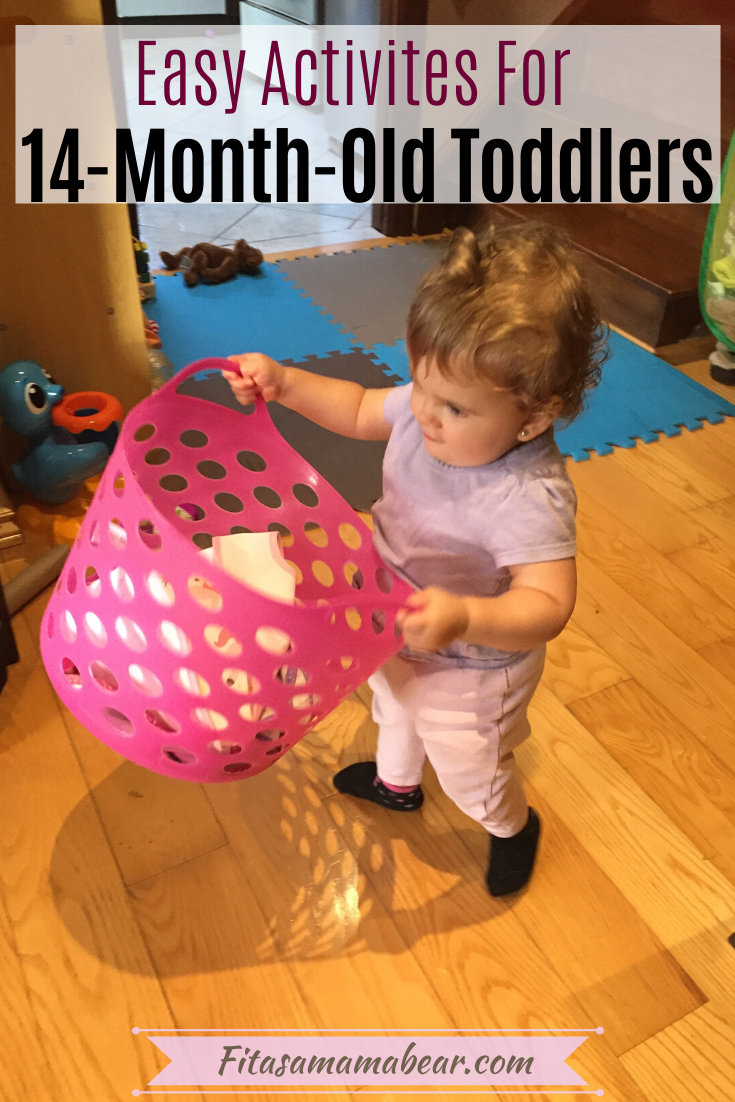 Pinterest image with text: 14 month old toddler carrying a pink basket