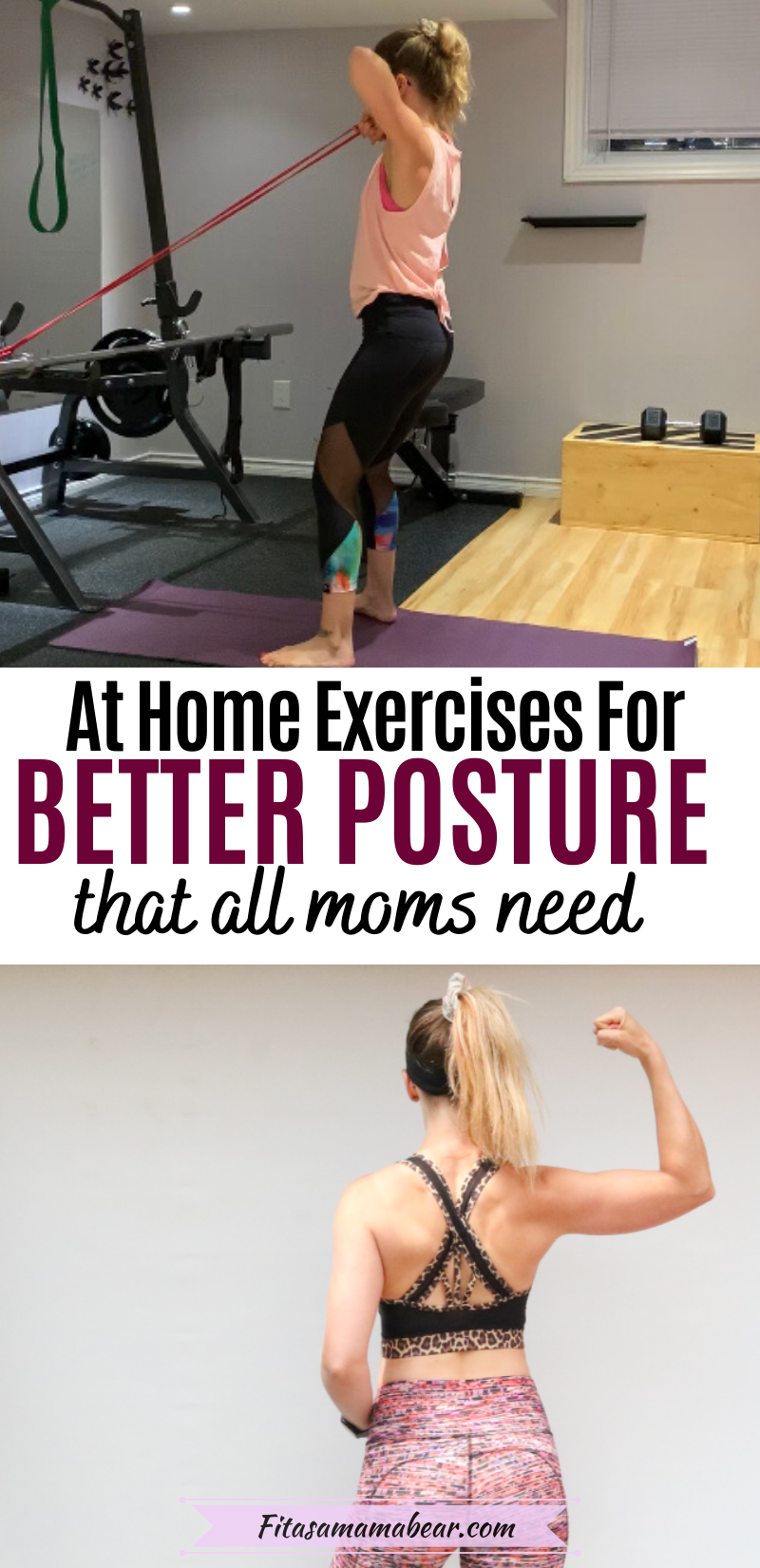 Pinterest image with text: two images, one of a womans back muscles in a sports bra and the other of a woman in an at-home gym performing posterior chain exercises.
