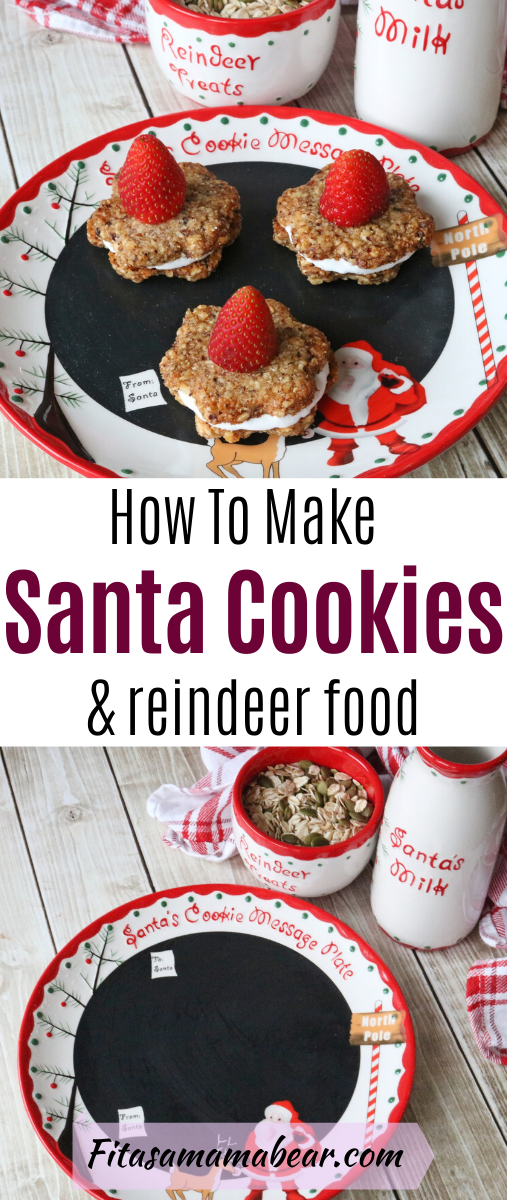 Pinterest image with text: Homemade santa cookies. Three cookies with coconut whip cream on a santa plate with milk in a jug and a bowl of reindeer food