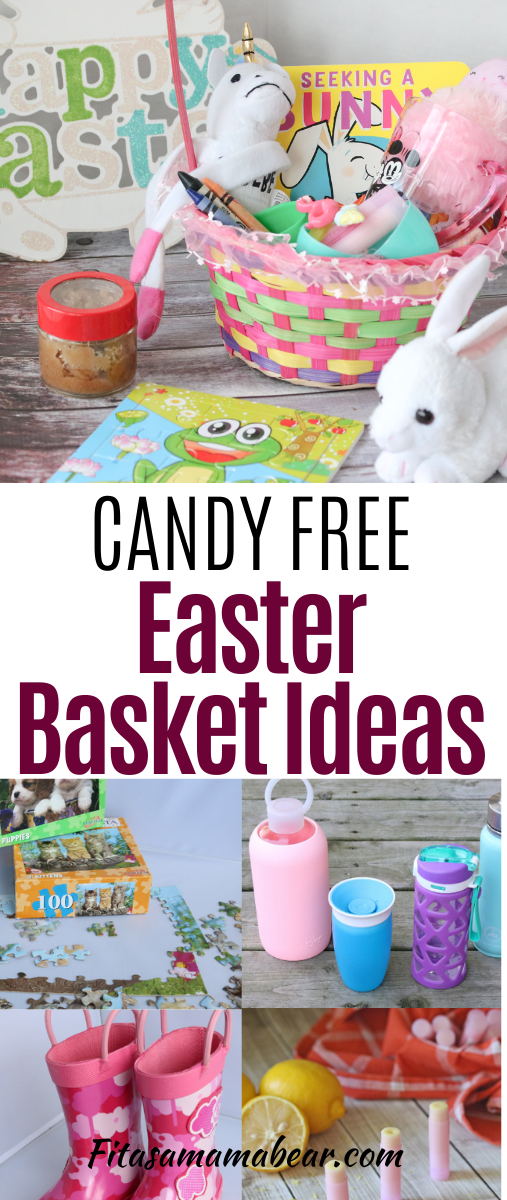 Pinterest image with text: non-candy easter basket filler ideas