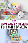 Pinterest image with text: two images the top of a sugar-free easter basket filled with activities and the bottom of a puzzle