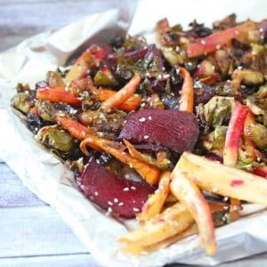 Oven roasted vegetables on tin foil