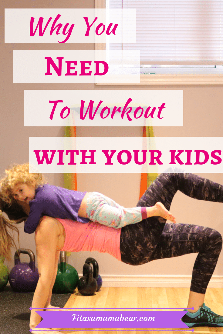 Pinterest image with text: mom in a bright shirt performing an exercise with a toddler on her lap and text about working out with a toddler