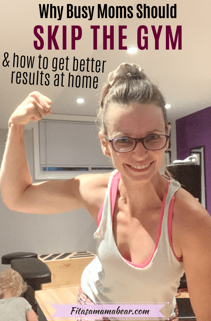 Pinterest image with text: mom in light green shirt flexing her bicep with a toddler playing in the gym behind her