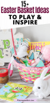 Pinterest image with text: Pink easter basket filled with non-candy Easter basket fillers like puzzles, scrubs and books