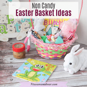 Pinterest image with text: easter basket filled with non-candy items