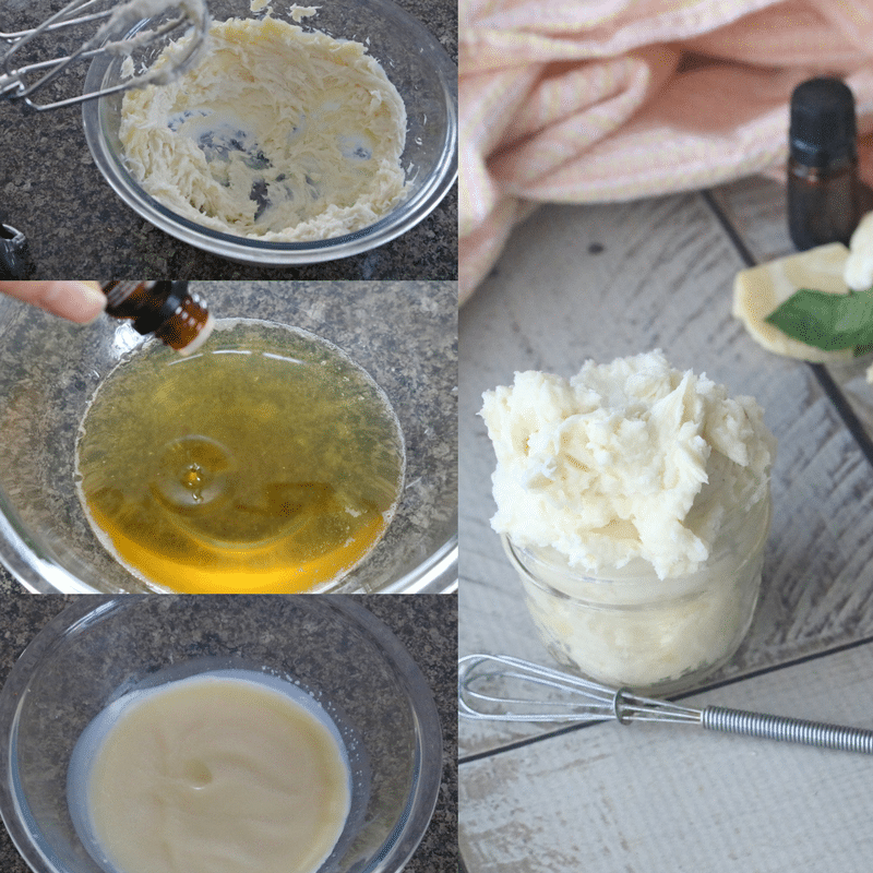 Diy whipped peppermint foot lotion, butter