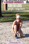 Pinterest image with text: woman in pink shirt and blue shorts with a white headback bending down to tie her shoe lace outside