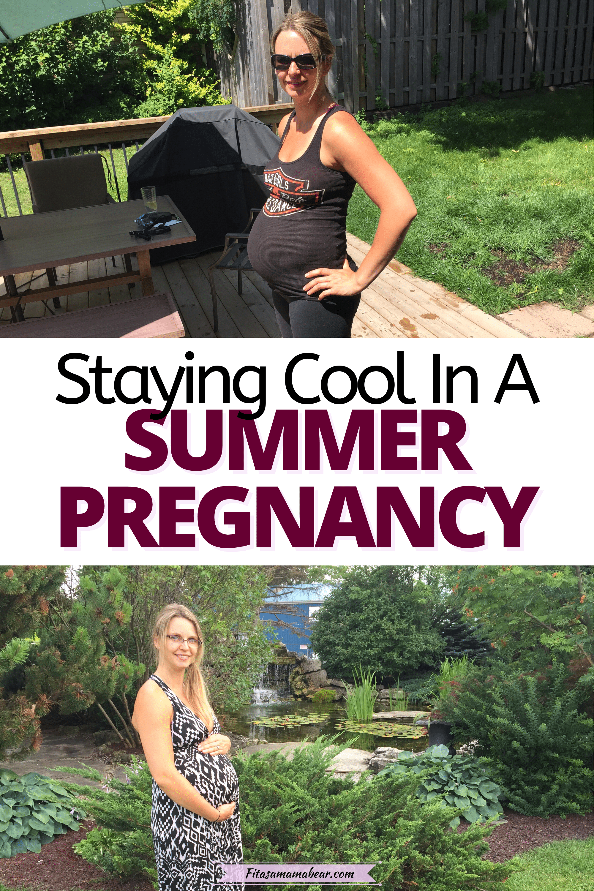 Pinterest image with text: two images of a pregnant woman outside in the summer