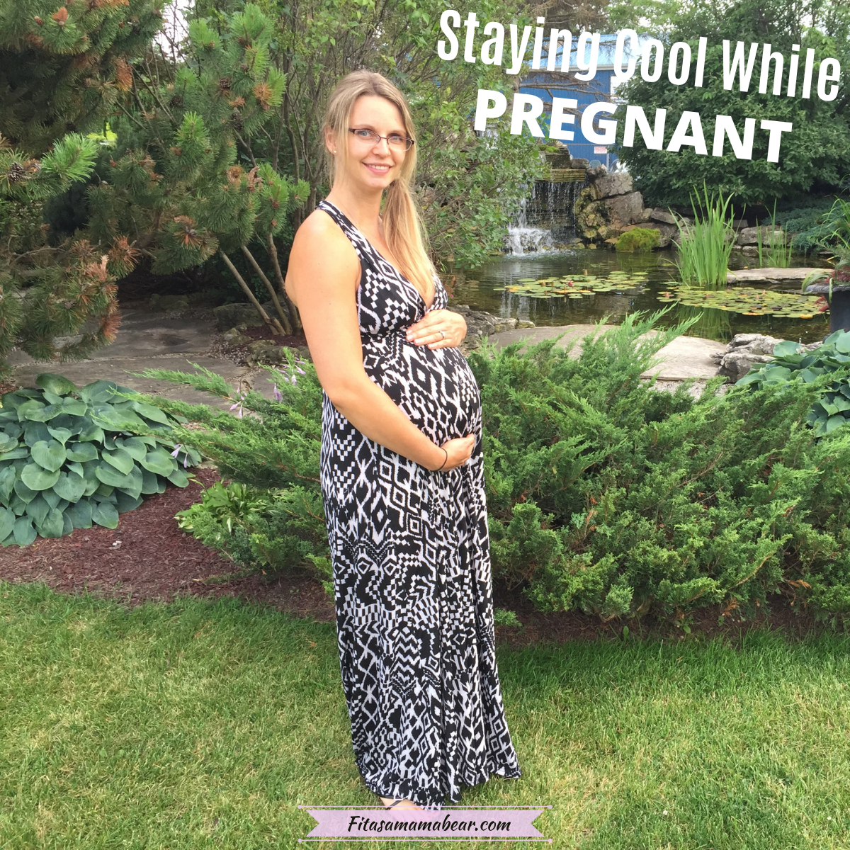 Pinterest image with text: pregnant woman in a maxi dress in the summer