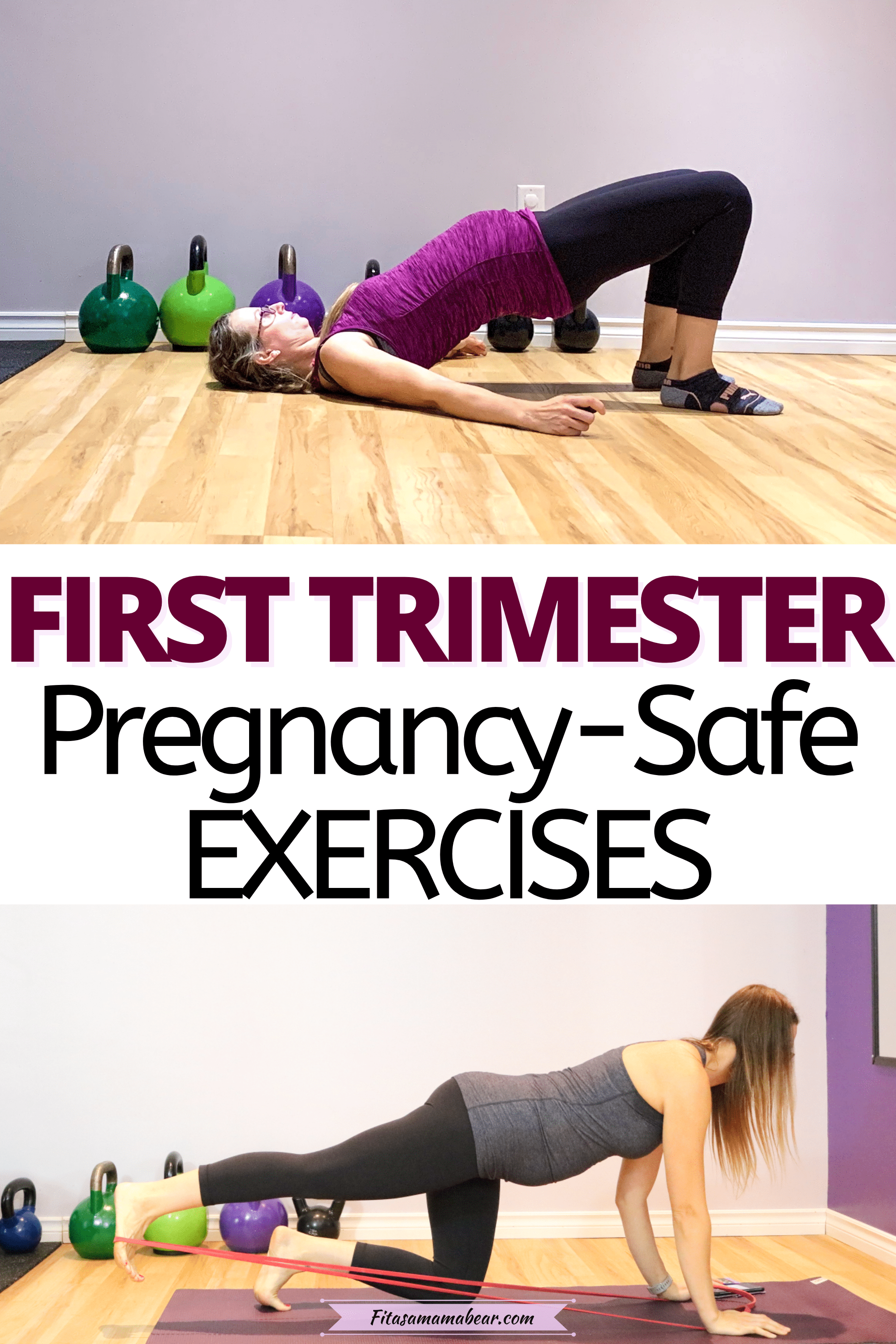 Pinterest image with text: two images of a woman in the first trimester performing pregnancy safe exercises