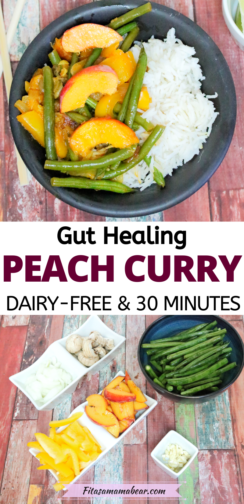 Pinterest image with text: top photo of sweet peach curry in a black bowl, lower image of the ingredients used to make it