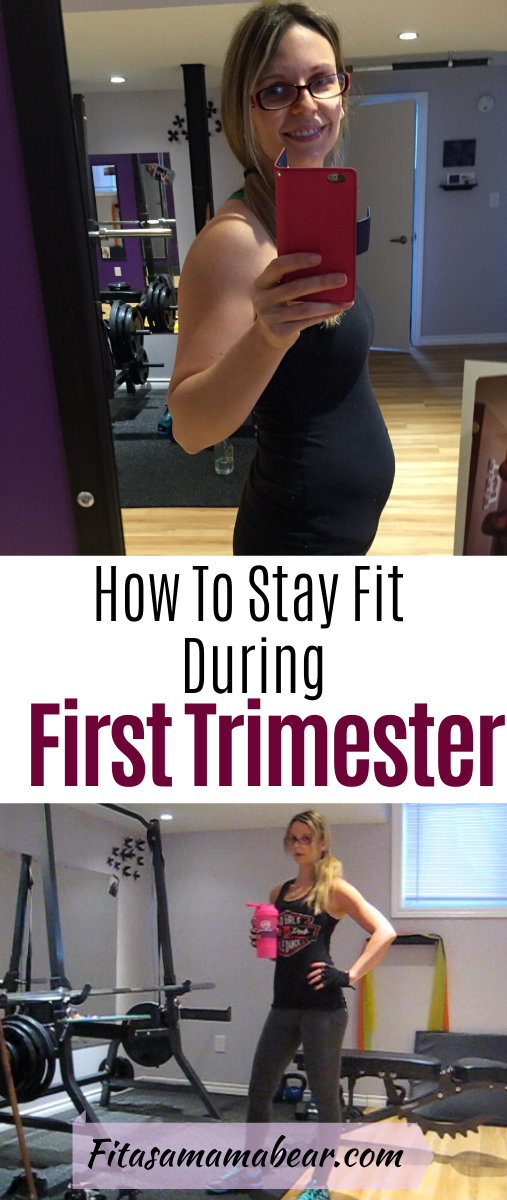Pinterest image with text: pregnant woman in gym taking a selfie in the mirror