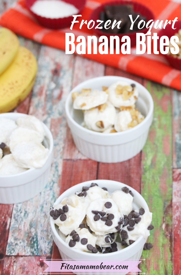 Pinterest image with text: three white bowls with frozen bananas, bananas and toppings for the bites behind them