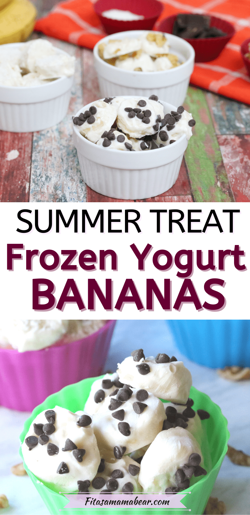 Pinterest image with text: two images of frozen yogurt covered bananas in bowls topped with chocolate chips, coconut and walnuts