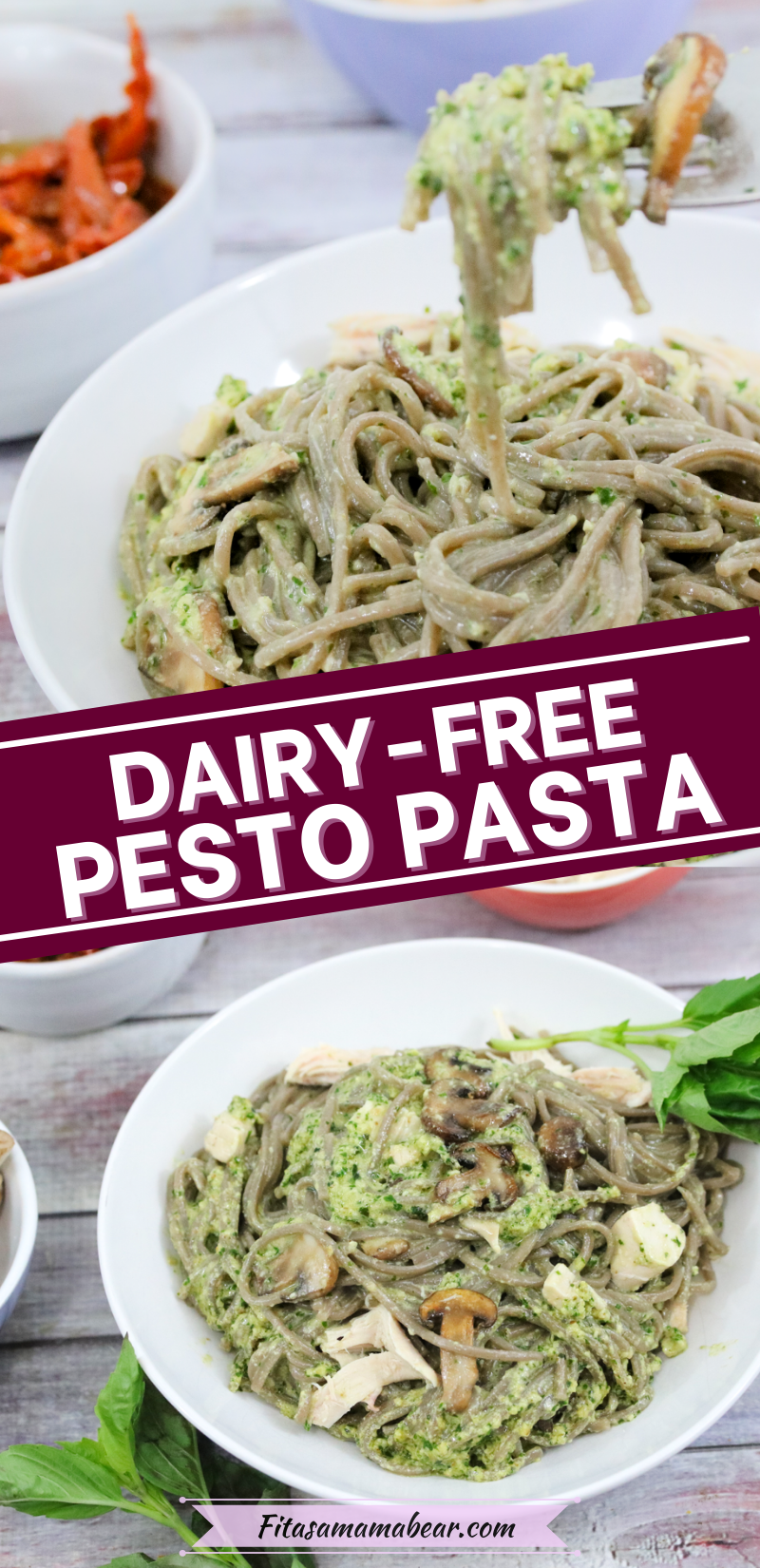 Pinterest image with text: creamy pesto pasta in a white bowl with ingredients around it