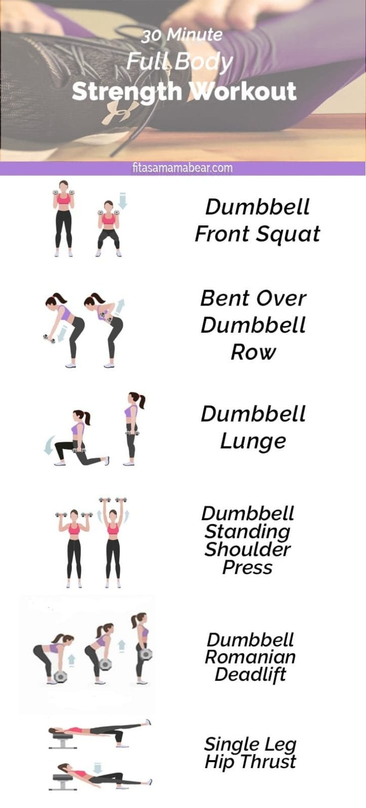 Full body strength workout for moms, dumbbells, fitness, strength, training, exercise, tone, define, heavy lifting