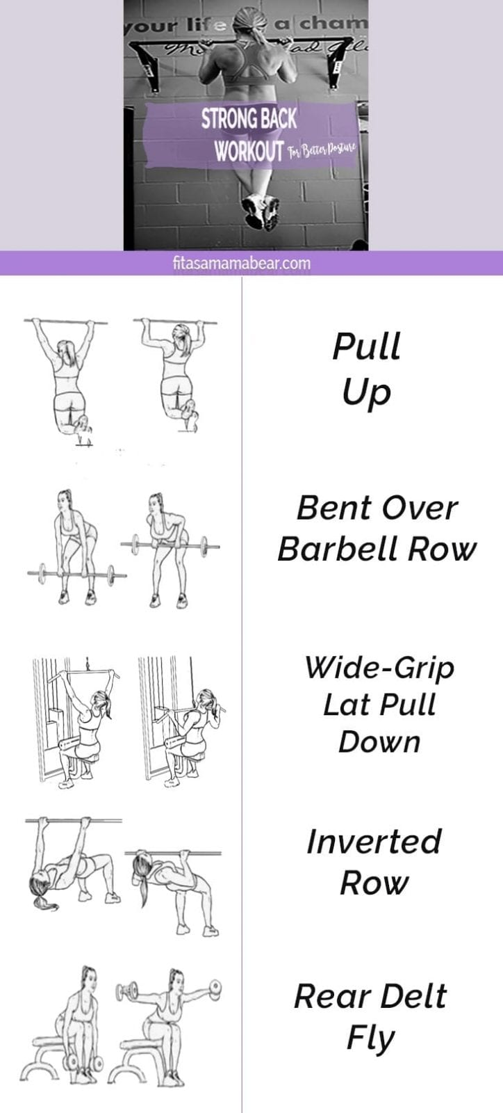 Workout to improve back strength. Training, exercise, strength, fat loss, fitness, activity, busy moms, tone, define, lean.