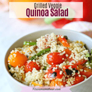 Pinterest image with text: veggie quinoa salad in a white bowl with peppers behind it
