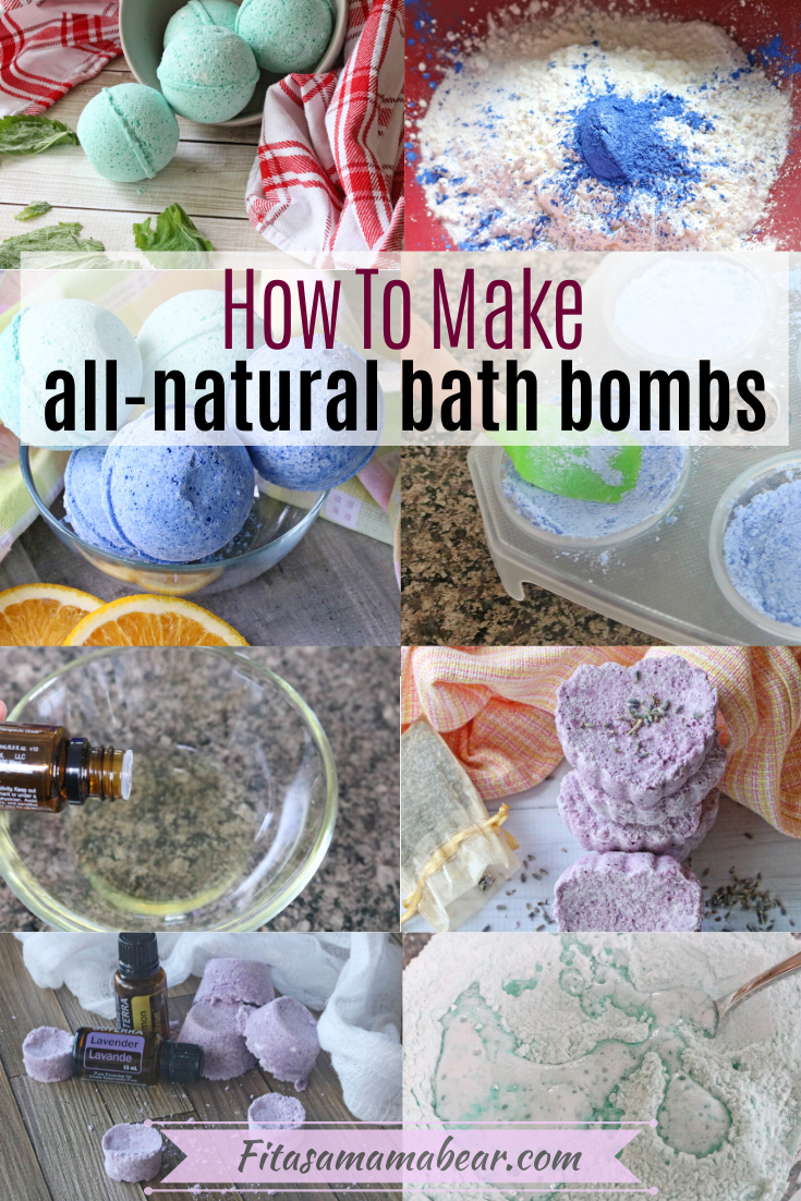 Pinterst image with text: a collage of homemade bath bombs and in process images