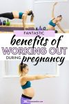 Pinterest image with text: multiple images of a pregnant woman in a blue sports bra performing bodyweight exercises