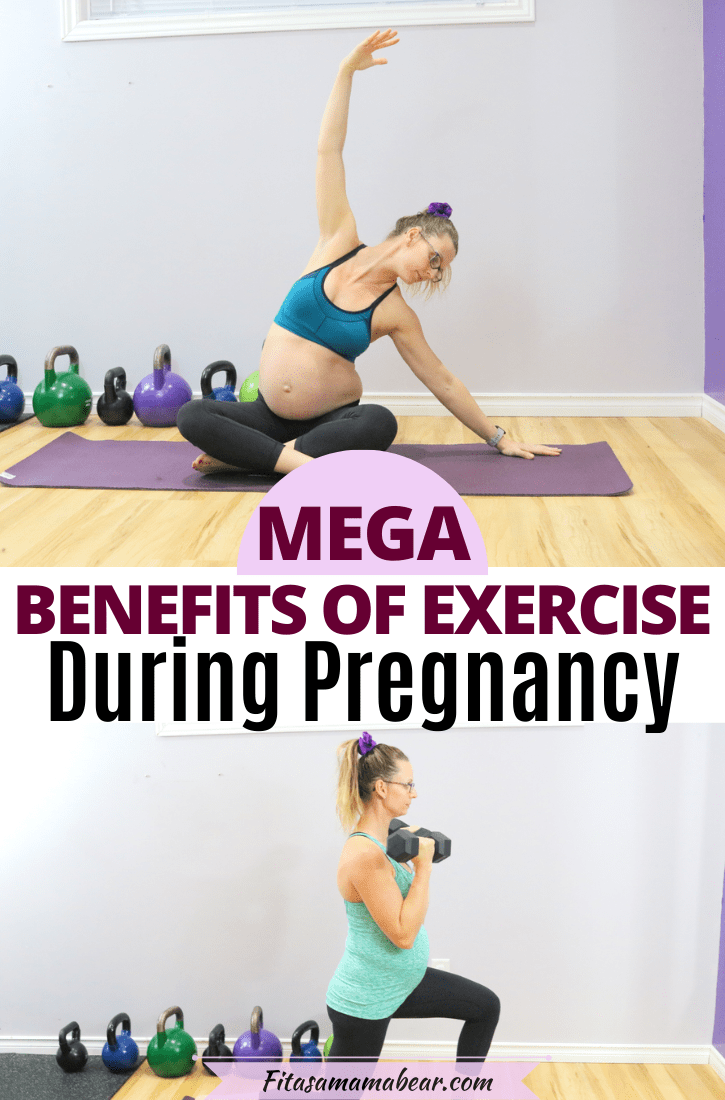 Pinterest image with text: two images of a pregnant lady working out and stretching with text about staying active during pregnancy