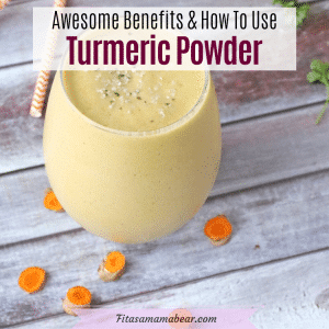 Pinterest image with text: turmeric smoothie in a glass with turmeric root and straws around it