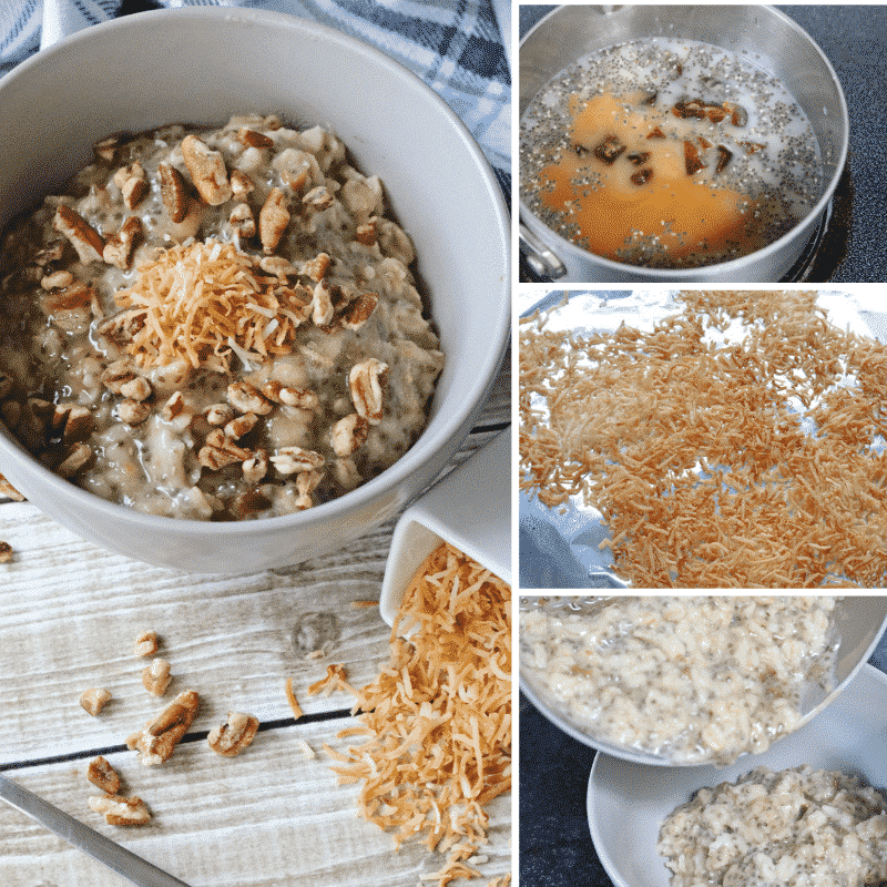 Collage of an oatmeal recipe including in process images