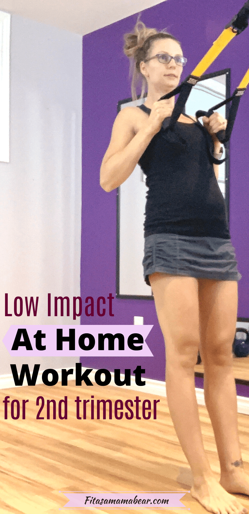 Pinterest image with text: pregnant woman in black shirt and grey skirt performing a prenatal workout at home in her second trimester