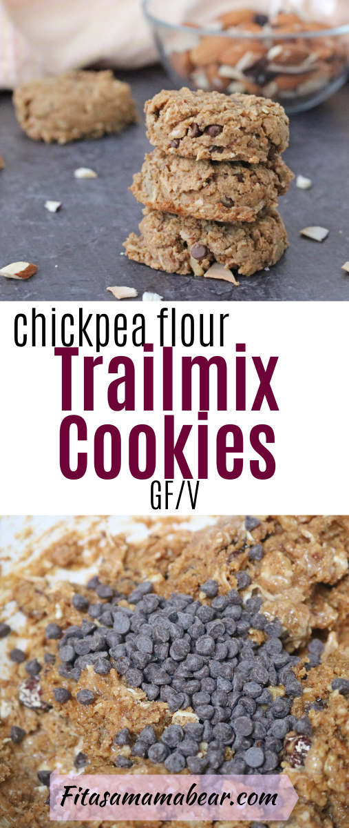 Pinterest image with text: three chickpea flour cookies stacked with a bowl of trail mix behind them. Second image of in process mix.