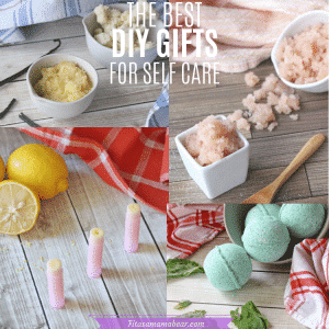 Diy gifts for self care image with 4 different photos of diy gifts and text.