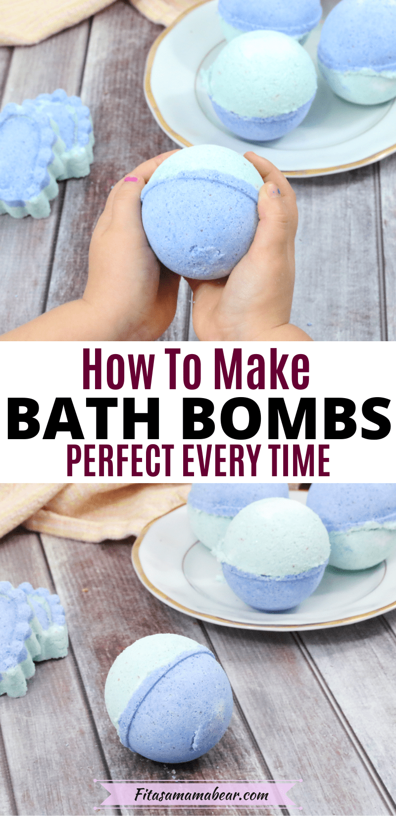 Pinterest image with text: two images the top of kids hands holding a blue and green bath bomb the bottom of bath bombs on a white plate with one in front