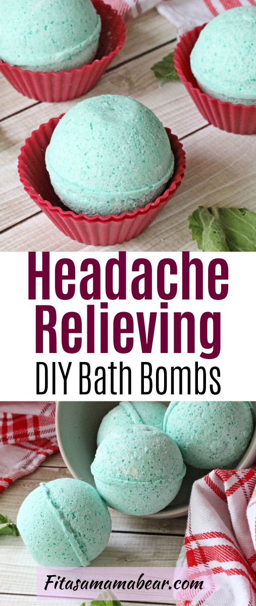 Pinterest image with text: green bath bombs in a bowl with mint and a red linen