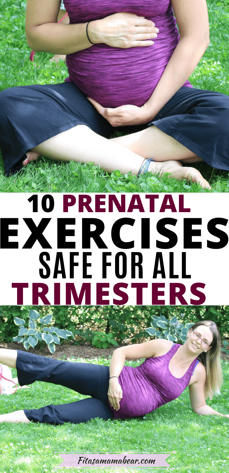 Pinerest image with text: two images of a pregnant lady in a pink shirt and black pants both holing her belly and working out outside