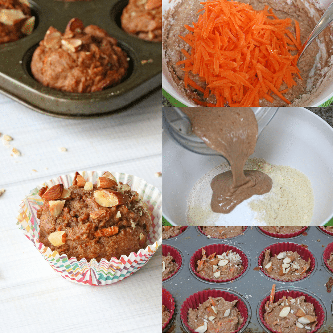 Healthy carrot muffins collage image. One final image of a carrot muffin in a muffin tin and three in process images of the muffins being made