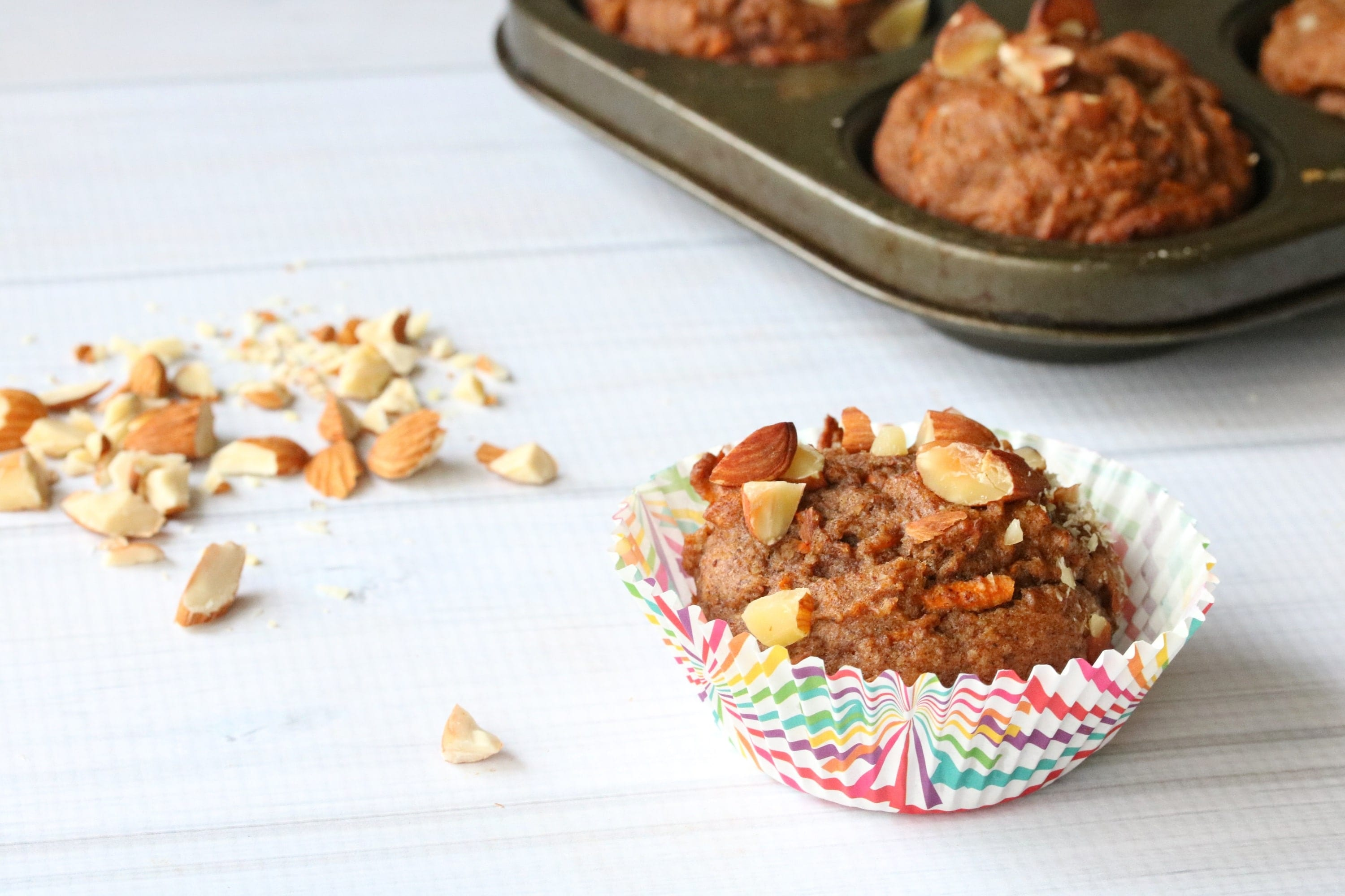 carrot spice muffins, almond meal, dairy free, healthy, snack, hidden veggies, busy mom, toddler, kid, easy, quick, recipe