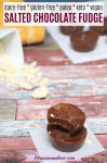 Pinterest image with text: three discs of vegan chocolate fudge stacked with cacao butter and a mold with more fudge behind it