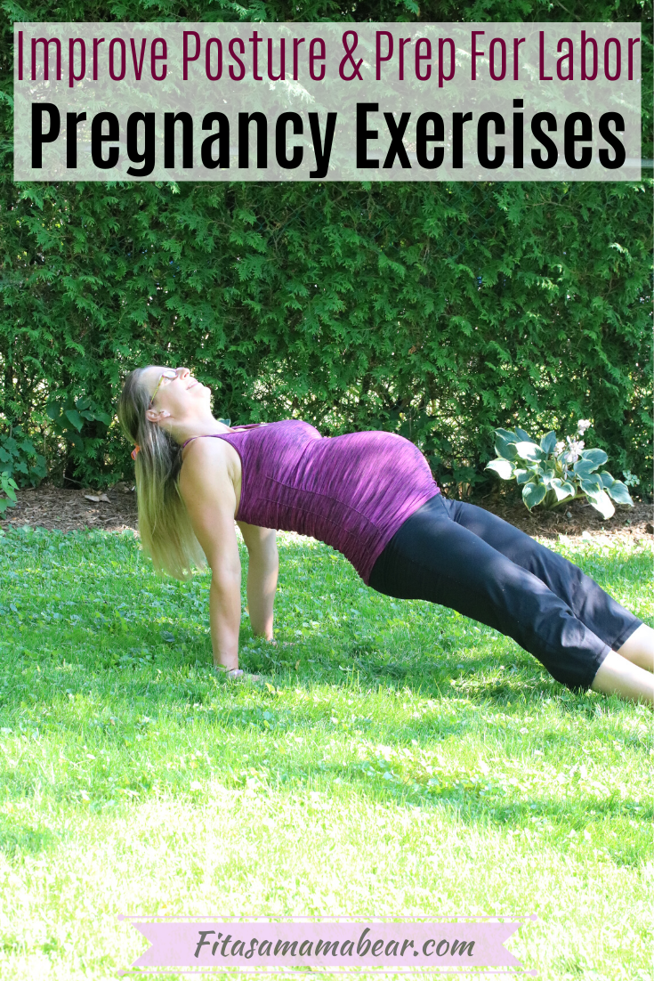 Pinterest image with text: woman in pink shirt and black pants exercising while pregnant
