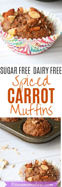 Pinterest image with text of sugar-free carrot muffins. Top image of the healthy carrot muffin in a muffin cup. The second image of muffins in a baking tray