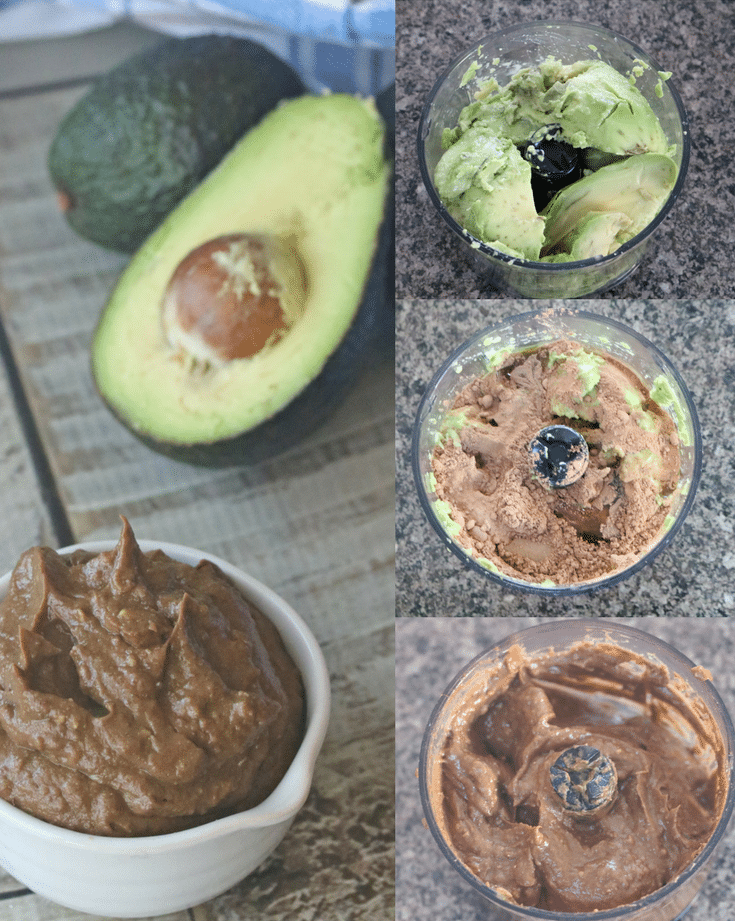 Collage image of pudding in a while ramekin with avocados and the other three images of how to make the pudding