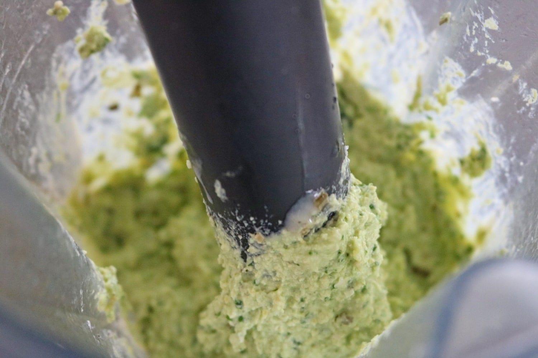 Healthy homemade hummus prep