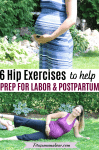 Pinterest image with text: two images the first of a pregnant woman in a blue dress the second of a pregnant woman performing hip exercises while pregnant